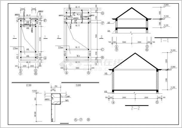 武汉市汉阳区某大型水库单层砖混结构管理房全套结构设计CAD图纸-图二