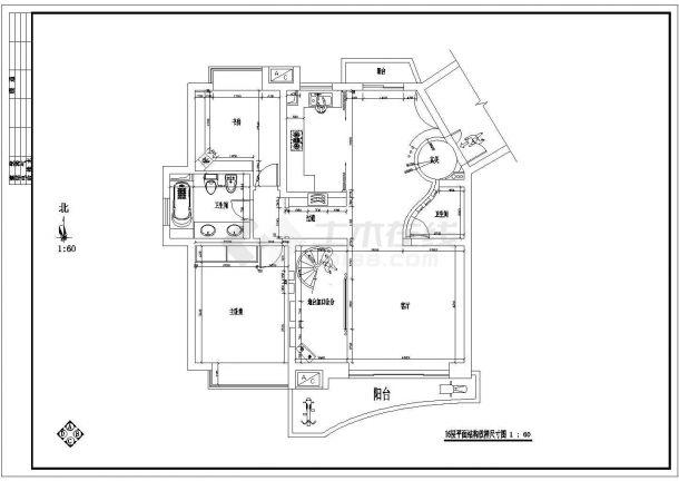 某带跃层套房室内装饰设计cad全套施工图-图一