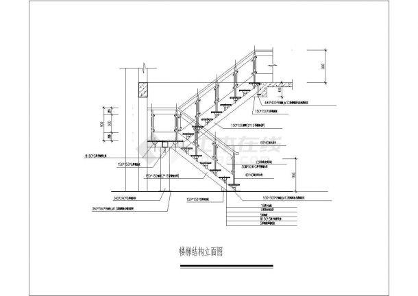 某多层住宅楼楼梯设计cad施工详图-图二