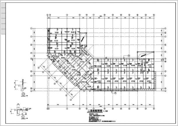 湖州市锦元中学4层硂框架结构办公楼全套结构设计CAD图纸-图一