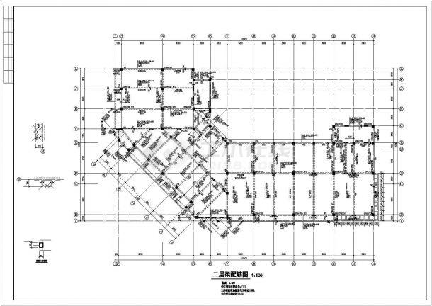 湖州市锦元中学4层硂框架结构办公楼全套结构设计CAD图纸-图二