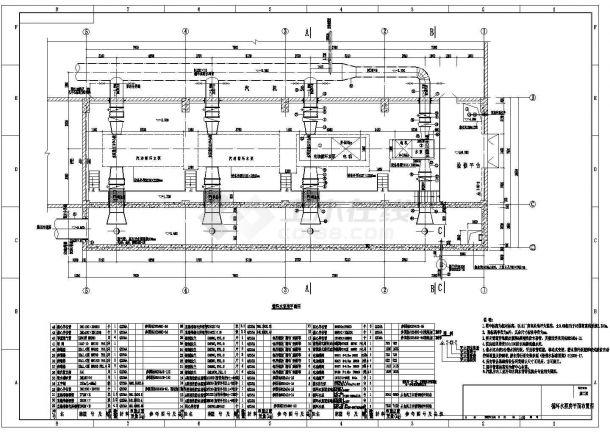 武进区某电厂循环水泵房安装图(含185kw循环水泵安装详图,目录和材料表)-图一