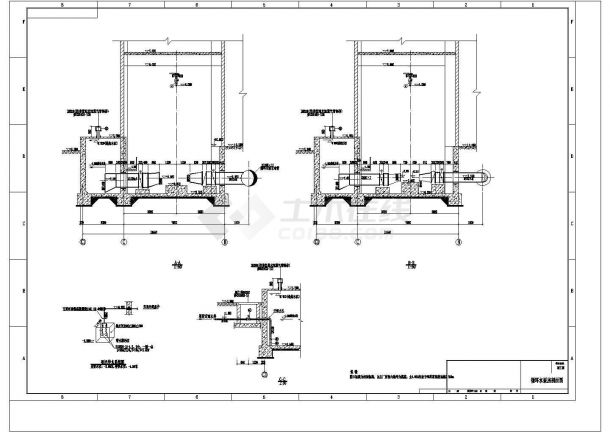 武进区某电厂循环水泵房安装图(含185kw循环水泵安装详图,目录和材料表)-图二