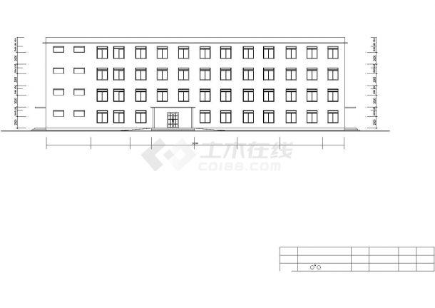 某中学占地820平米4层框架结构行政办公楼建筑设计CAD图纸-图一