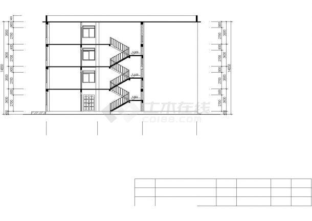 某中学占地820平米4层框架结构行政办公楼建筑设计CAD图纸-图二