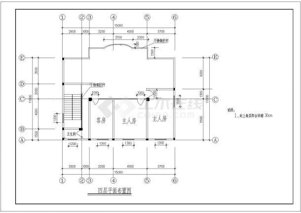 扬州市某现代化村镇4层砖混结构单体乡村别墅建筑设计CAD图纸-图一
