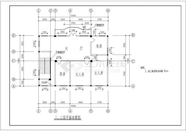 扬州市某现代化村镇4层砖混结构单体乡村别墅建筑设计CAD图纸-图二