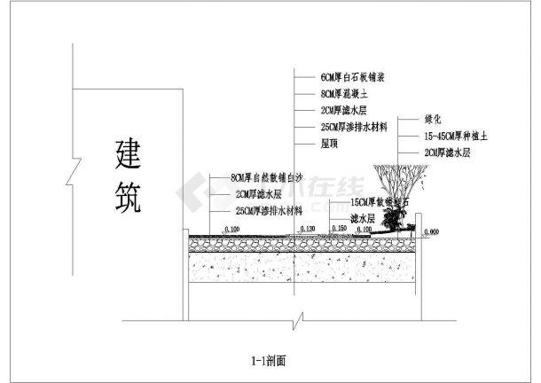 上海某会所屋顶景观绿化全套设计图纸-图一