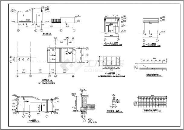 居民小区大门设计施工图纸资料-图二