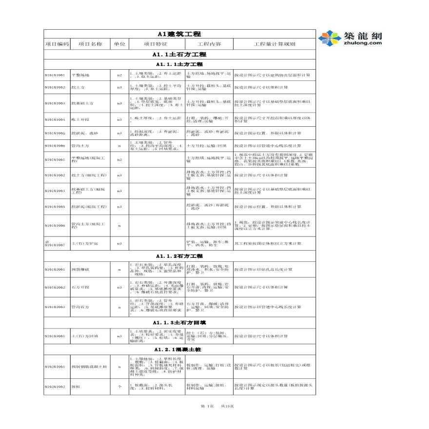 清单工程量计量规则(建筑工程)EXCEL版-图一