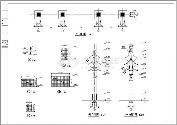 九龙生态园南天门(钢筋混凝土结构)设计cad全套建筑施工图(含设计说明)-图二