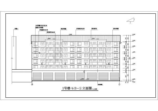 北京某小区一号楼地上六层住宅楼建筑工程设计CAD图(含楼梯间大样)-图一