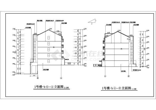 北京某小区一号楼地上六层住宅楼建筑工程设计CAD图(含楼梯间大样)-图二