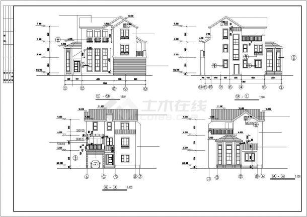 西安市丽锦家园小区290平米3层高档经典砖混结构别墅建筑设计CAD图纸-图一