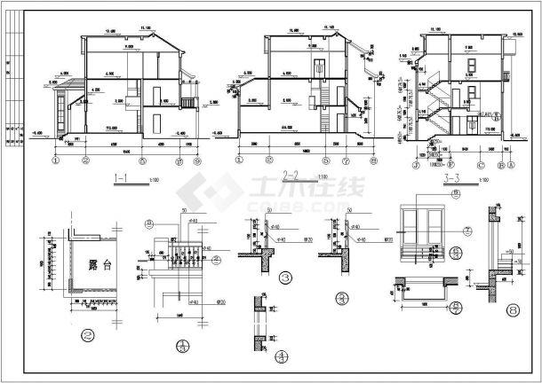 西安市丽锦家园小区290平米3层高档经典砖混结构别墅建筑设计CAD图纸-图二