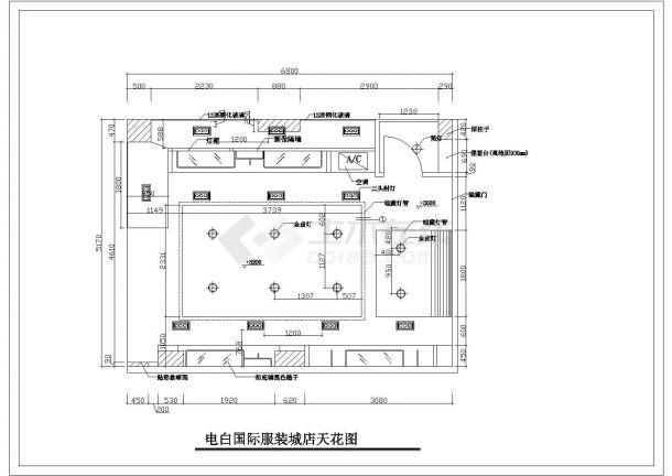 某地35平方电白国际服装城店设计cad施工图-图二