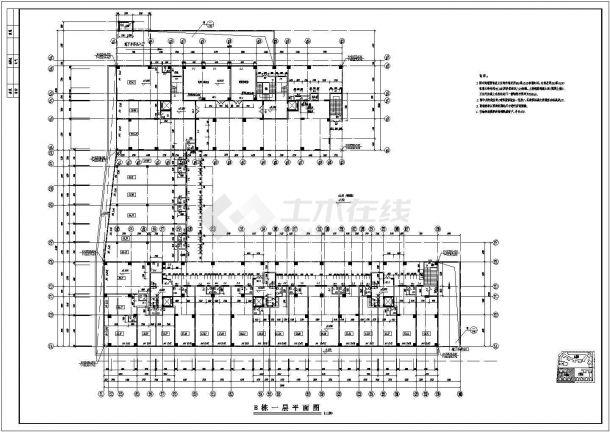 南方某高层住宅小区全建筑施工设计cad图(B栋)-图二