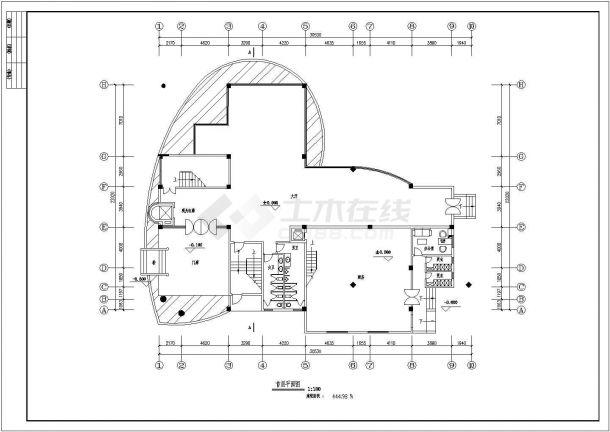 某六层砖混结构餐厅设计cad全套建施图(含设计说明)-图二