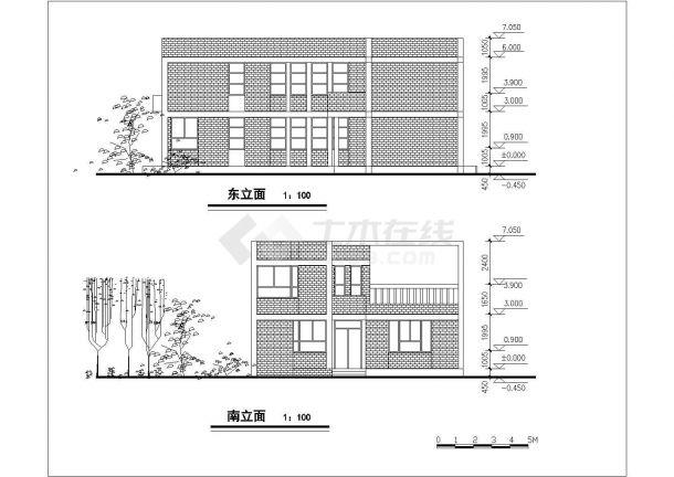 占地190平米2层砖混结构单体别墅平立剖面设计CAD图纸(含总平面图)-图一