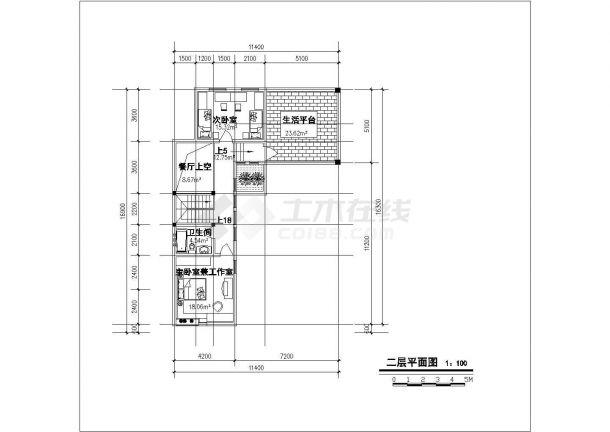 占地190平米2层砖混结构单体别墅平立剖面设计CAD图纸(含总平面图)-图二