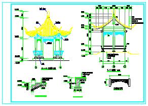 西南地区钢筋混凝土结构单檐仿古六角亭全套设计施工图纸-图二