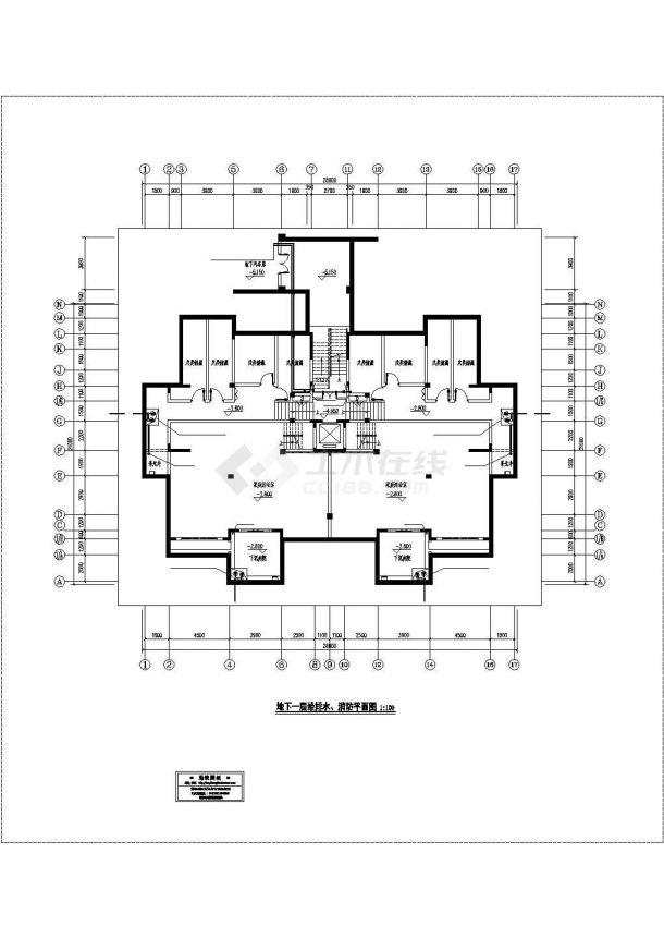 重庆市裕城花园小区5层砖混结构住宅楼给排水设计CAD图纸(含阁楼)-图一
