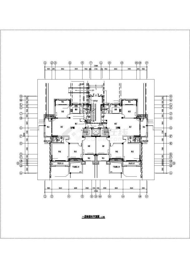 重庆市裕城花园小区5层砖混结构住宅楼给排水设计CAD图纸(含阁楼)-图二