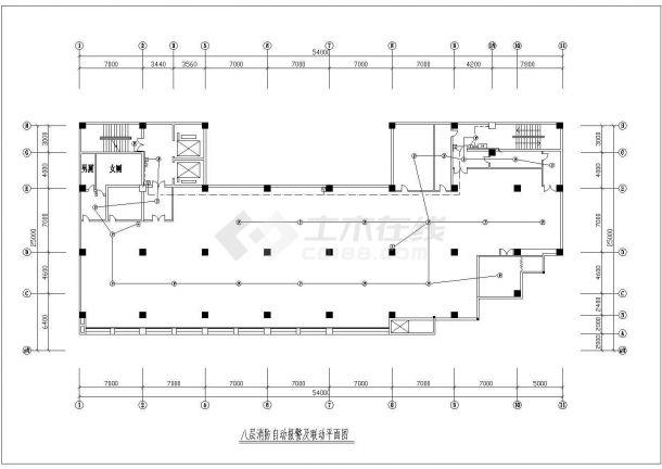 广州市某居住区八层住宅楼消防自动报警及联动平面设计CAD图纸-图一