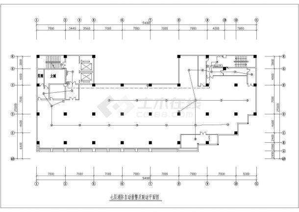 广州市某居住区八层住宅楼消防自动报警及联动平面设计CAD图纸-图二
