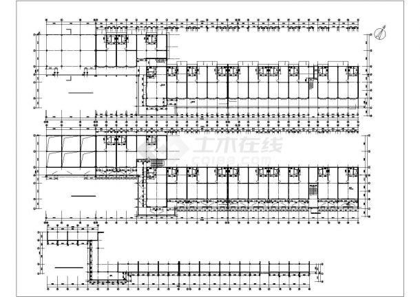 6700平米2+1层框架结构商业步行街全套建筑设计CAD图纸-图二