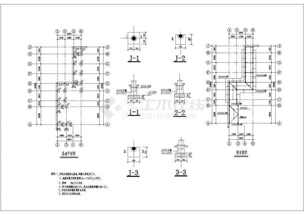 江南园林古建全套建筑结构设计cad图(含基础平面图)-图一