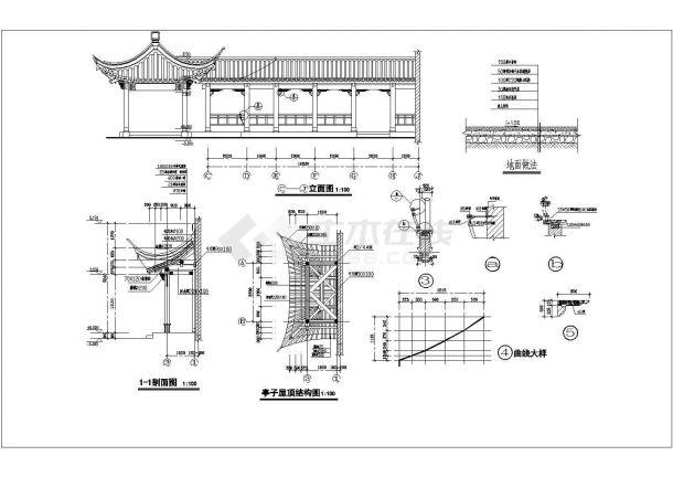 江南园林古建全套建筑结构设计cad图(含基础平面图)-图二