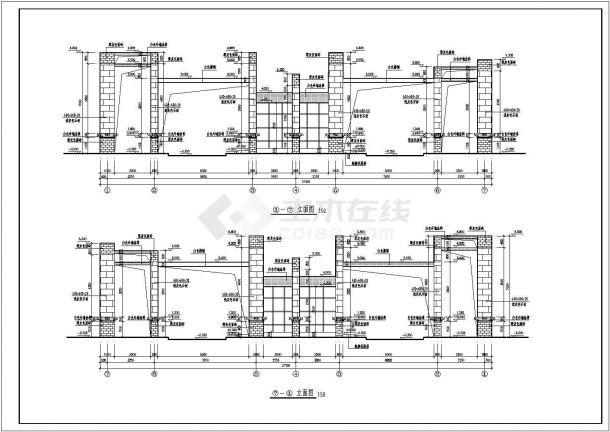 大型景观大门建筑设计CAD图-图一