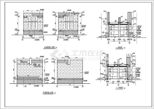 大型景观大门建筑设计CAD图-图二
