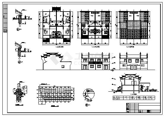 住宅设计_某镇二层徽派风格新农村住宅建筑施工cad图纸-图一