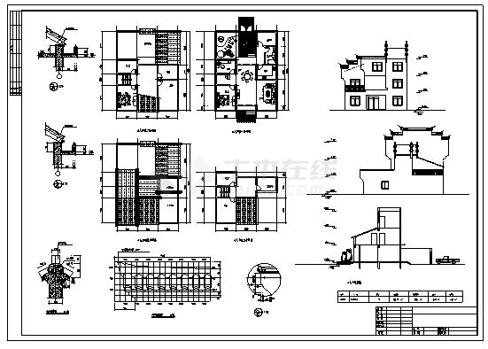 住宅设计_某镇二层徽派风格新农村住宅建筑施工cad图纸-图二