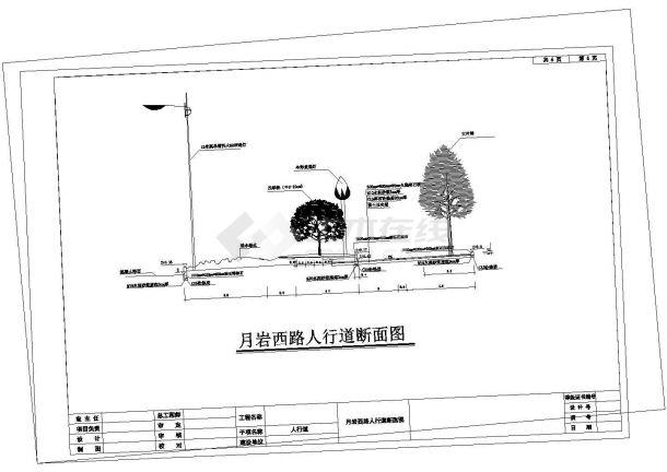 某月岩西路绿化工程道路绿化施工全套设计cad图-图一