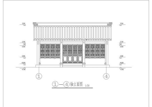 【杭州】某园林景区古建筑建筑施工全套设计cad图-图二