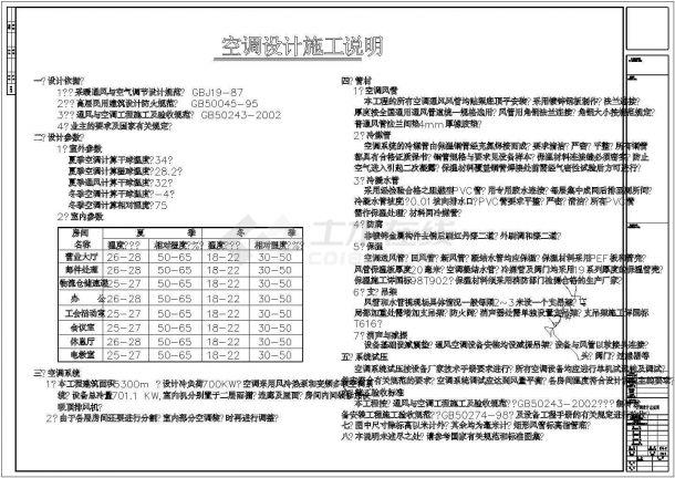 某多层邮政大楼全套空调系统施工设计cad图纸(含设备材料表)-图一