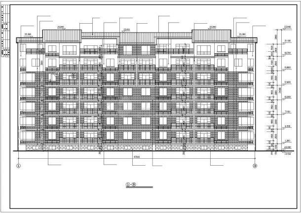 某小区3600平米左右7层砖混结构住宅楼全套建筑设计CAD图纸-图一