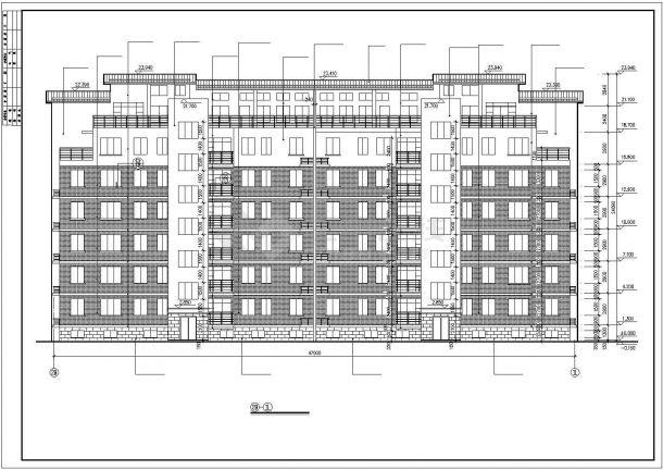 某小区3600平米左右7层砖混结构住宅楼全套建筑设计CAD图纸-图二