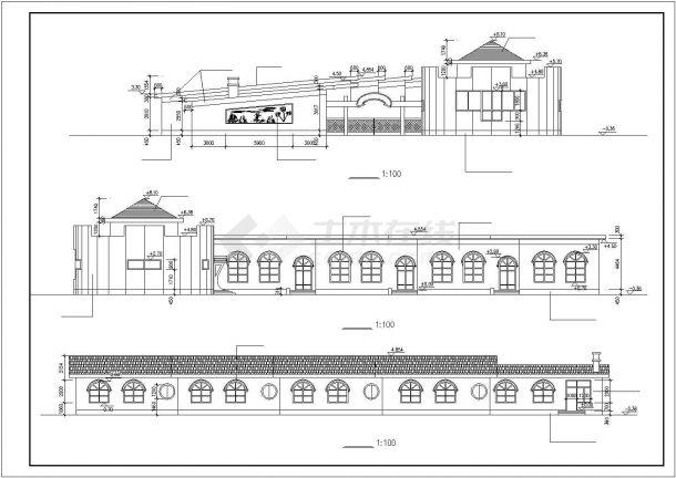 杭州市昌江路某830平米单层砖混结构私立幼儿园平立面设计CAD图纸-图二
