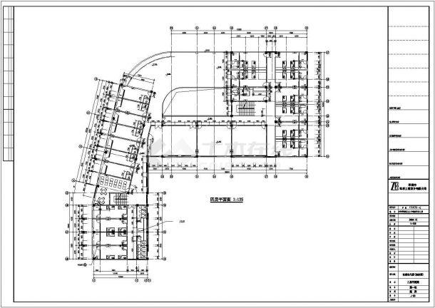 北京市朝阳区广福路某社区幼儿园5层框架结构教学楼平面设计CAD图纸-图二
