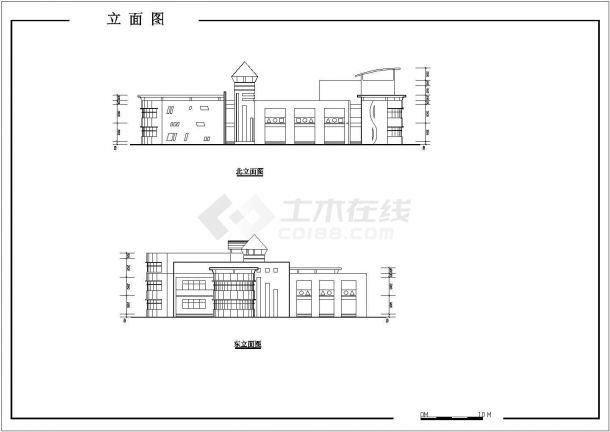 兰州市某社区幼儿园1410平米3层全框架结构教学楼平立面设计CAD图纸-图一