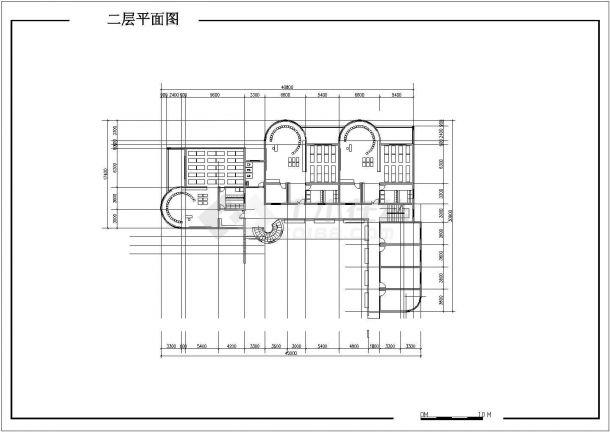 兰州市某社区幼儿园1410平米3层全框架结构教学楼平立面设计CAD图纸-图二