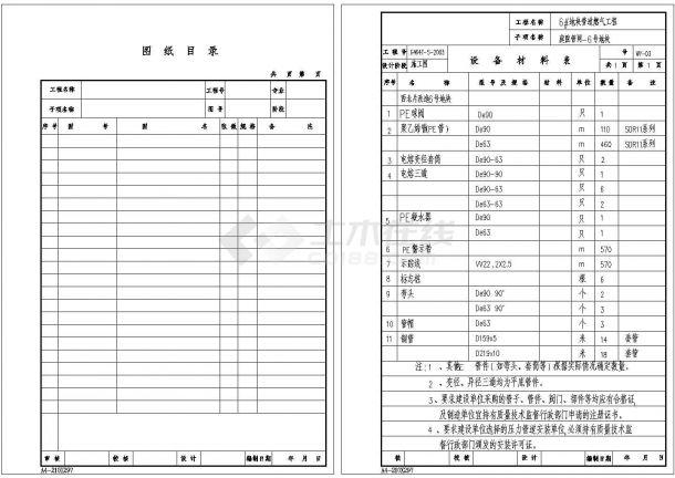 庭院燃气管网工程设计图纸(含图纸目录,设计说明,庭院燃气管道总平面图)-图二