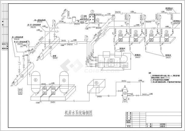 某高档宾馆中央空调系统机房(涡旋机)设计cad原理图-图一