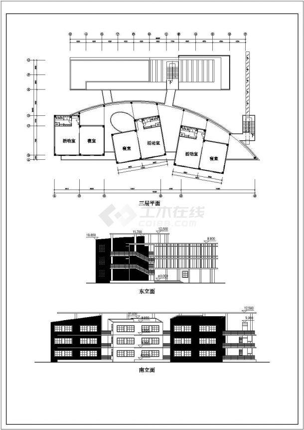 福州市某学校幼儿园部3层框架结构教学楼平立面设计CAD图纸-图一