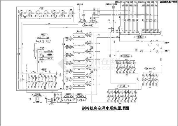 某公共建筑集中空调制冷机房空调水系统cad原理图-图一