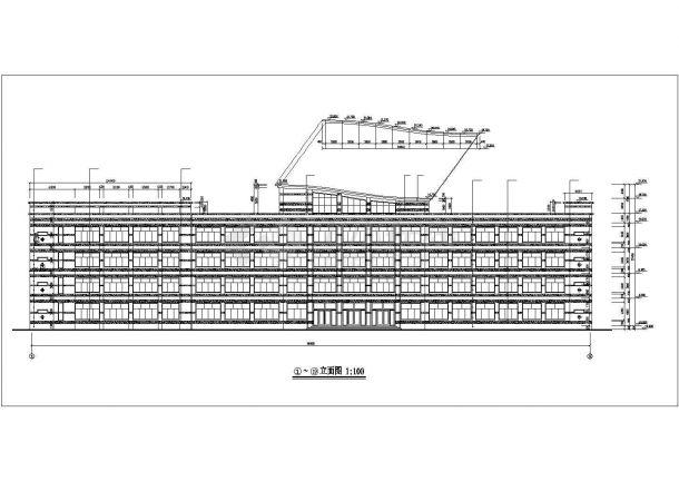 衡阳市某高校86x9米左右4层框架结构教学楼平立剖面设计CAD图纸-图一